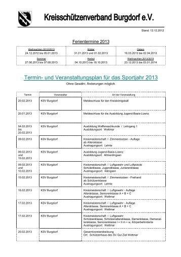 Termin- und Veranstaltungsplan für das Sportjahr 2013 - KSV Burgdorf