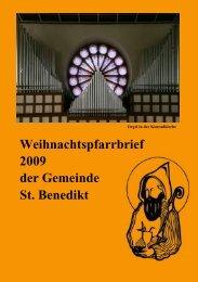 Weihnachtspfarrbrief 2009 der Gemeinde St. Benedikt