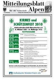 KIRMES und SCHÜTZENFEST 2010 - Gemeinde Alpen