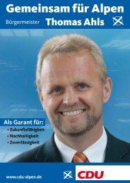 Als Garant für: - CDU Alpen
