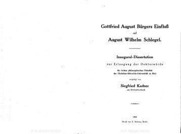 Gottfried August Bürgers Einfluß August \filhelm Schlegel.