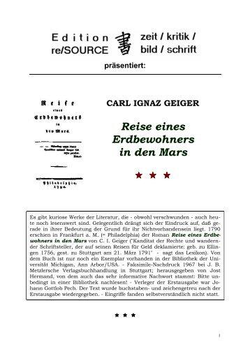 CARL IGNAZ GEIGER Reise eines Erdbewohners in ... - Literatur-Live