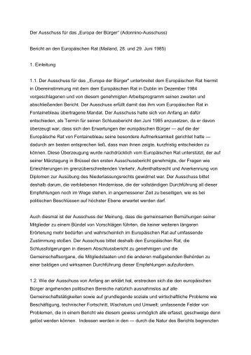 Adonnino-Bericht - Europa für Bürgerinnen und Bürger