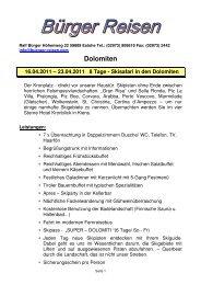 23.04.2011 8 Tage - Skisafari in den Dolomiten - Bürger Reisen