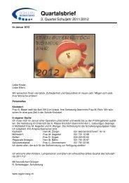 Quartalsbrief - Schulen Region Berg