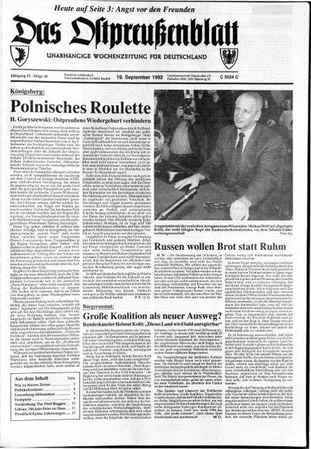 foto de Folge 38 vom 18.09.1992 - Archiv Preussische Allgemeine Zeitung