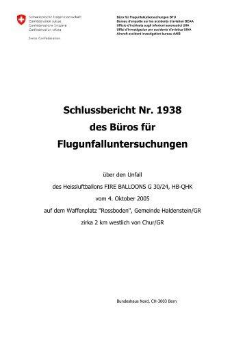 Schlussbericht Nr. 1938 des Büros für ... - BFU