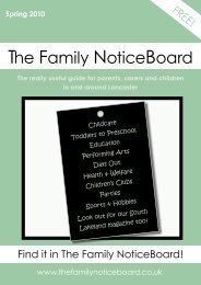 Spring 2010 he amily otice oard - The Family NoticeBoard