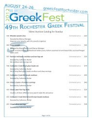 Silent Auction Catalog for Sunday - GreekFest