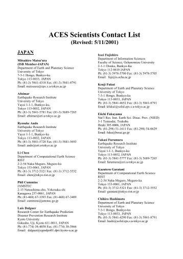 ACES Scientists Contact List (Revised: 5/11/2001) JAPAN - QUAKES