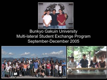 Bunkyo Gakuin University Multi-lateral Student Exchange Program ...