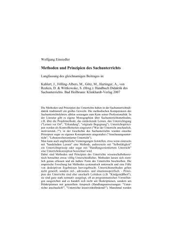 Methoden und Prinzipien des Sachunterrichts - Wolfgang Einsiedler