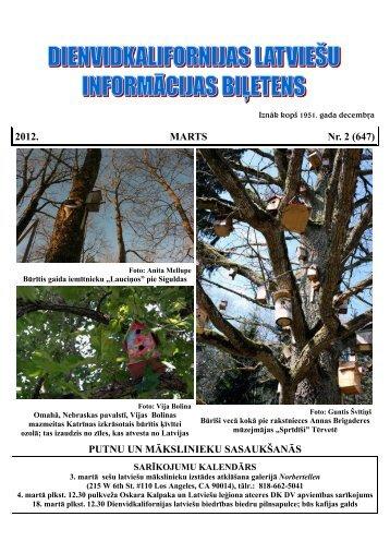 2012. MARTS Nr. 2 (647) PUTNU UN MĀKSLINIEKU ... - Calbs.com