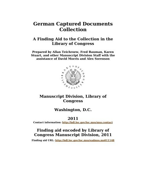 German Captured Documents Collection Finding Aid