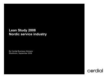 Lean Study 2008 Nordic service industry - Cordial