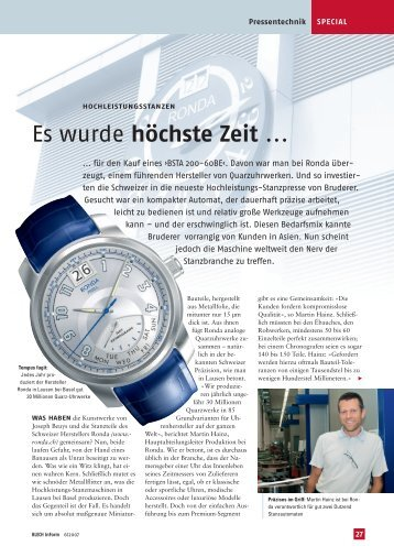Es wurde höchste Zeit ... - E. Bruderer Maschinenfabrik AG