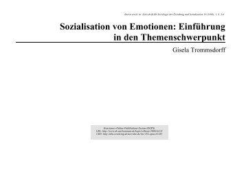 Sozialisation von Emotionen : Einführung in den ... - KOPS