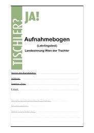 Aufnahmebogen (Lehrlingstest) Landesinnung Wien der Tischler