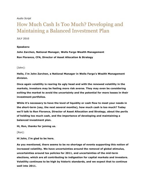 podcast script how much cash is too much 111 wells fargo