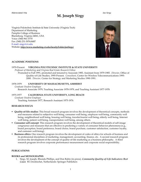 M. Joseph Sirgy - Marketing - Virginia Tech 00c8a17e42d