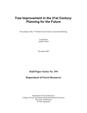 Tree Improvement in the 21st Century - Department of Forest ...