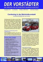 Carsharing in der Bahnhofsvorstadt DER VORSTÄDTER