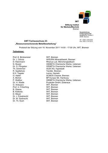 Versuchsaufbau zur Charakterisierung der ... - IWT Bremen