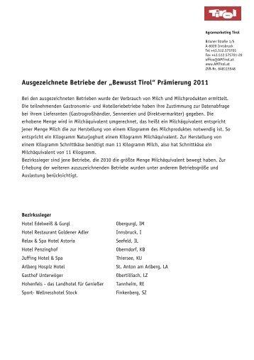 'Bewusst Tirol' Betriebe 2011 - holzweg