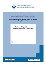 Regionale Disparitäten und Steuerung ländlicher Entwicklung