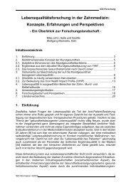 Lebensqualitätsforschung in der Zahnmedizin: Konzepte ... - IDZ