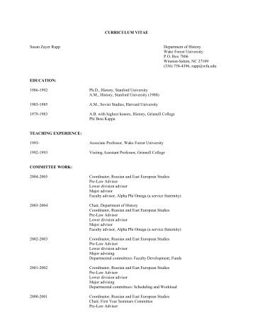 CURRICULUM VITAE Susan Zayer Rupp Department of History ...