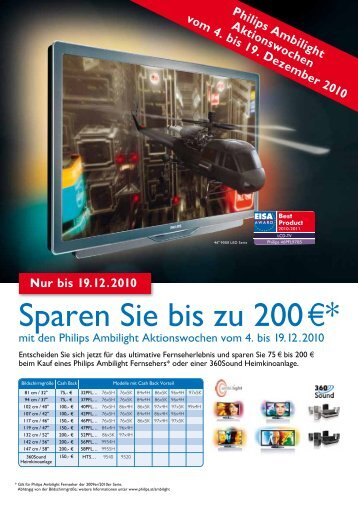 Philips Ambilight Aktionswochen vom 4. bis 19. Dezember 2010 Nur ...