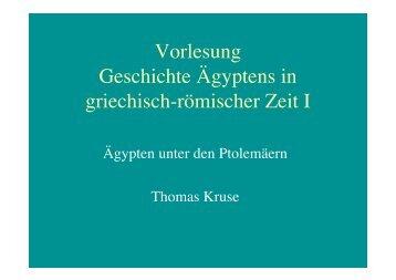 Vorlesung Geschichte Ägyptens in griechisch-römischer Zeit I
