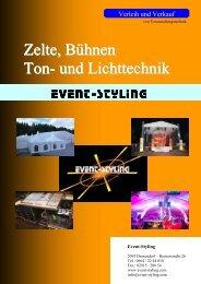 Zelte, Bühnen Ton- und Lichttechnik - Event Styling / Thomas Dvorak