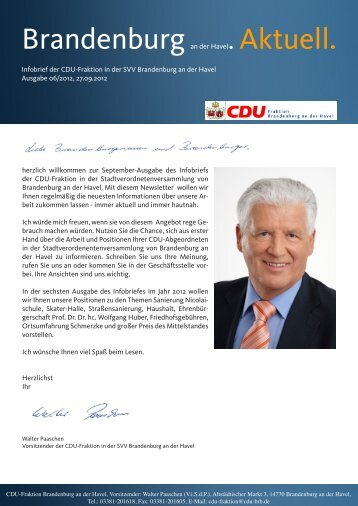 Infobrief der CDU-Fraktion in der SVV Brandenburg - Meetingpoint ...