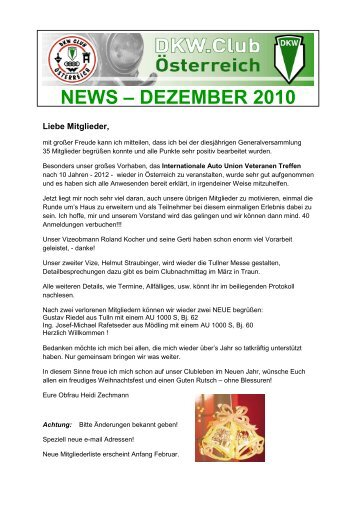 DKW News 2010 Dezember - DKW Club Österreich