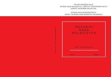 Roczniki Nauk Rolniczych, Seria G, T. 97, z - Wydział Nauk ...