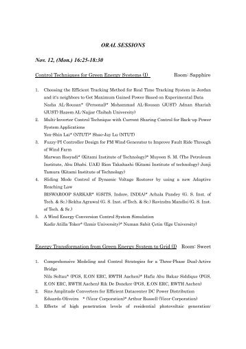 Session Programs - International Conference on Renewable Energy ...