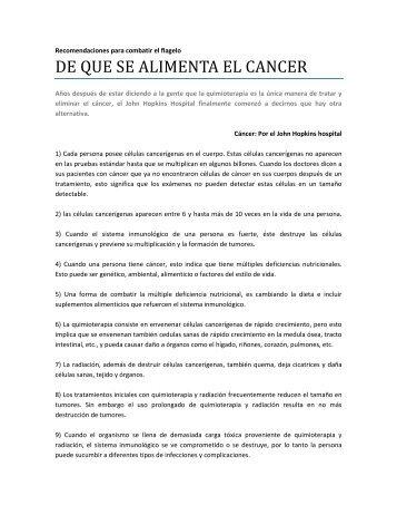 DE QUE SE ALIMENTA EL CANCER