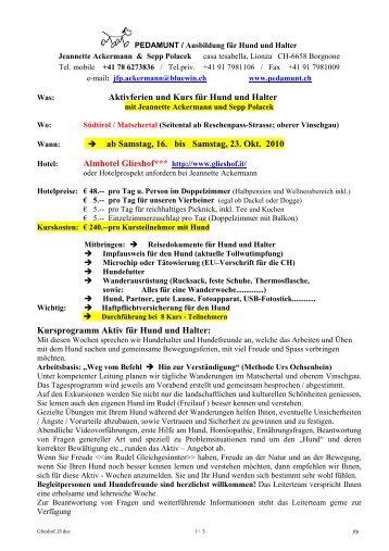Aktivferien und Kurs für Hund und Halter → ab Samstag, 16. bis ...