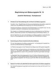 Begründung zum Bebauungsplan Nr. 14 - Peine