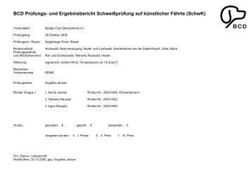 und Ergebnisbericht Schweißprüfung auf künstlicher Fährte (SchwK)