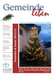 Dezember & Januar 2012/13 - Freie evangelische Gemeinde Wilden