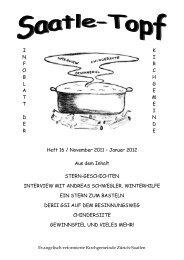 Sonntag, 11. Dezember 2011 um 10 Uhr in der Kirche Saatlen