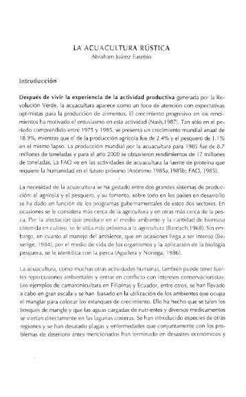 LA ACUACUlTURA RÚSTICA - Inecol