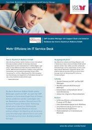 Mehr Effizienz im IT Service Desk - IDS Scheer AG