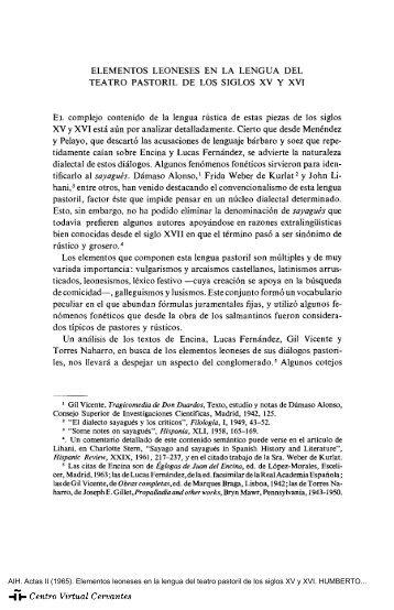 Actas II. AIH. Elementos leoneses en la lengua del teatro pastoril de ...