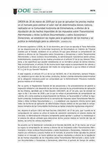 ORDEN de 30 de marzo de 2009 - Diario Oficial de Extremadura