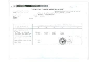 VALORES OFICLALES DE TERRENOS RUSTICOS