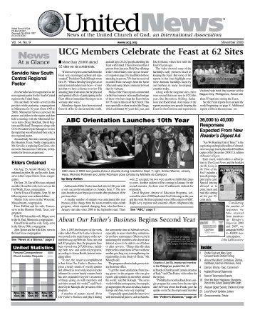 UCG Members Celebrate the Feast at 62 Sites - United Church of God